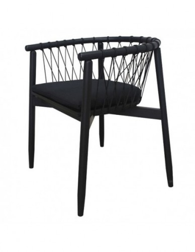 COWANTO MINI BL DINING CHAIR PLANTATION TEAK WOOD FRAME IN BLACK OPEN GRAIN FINISHING. DIA. 5 MM OUTDOOR ROPE BLACK