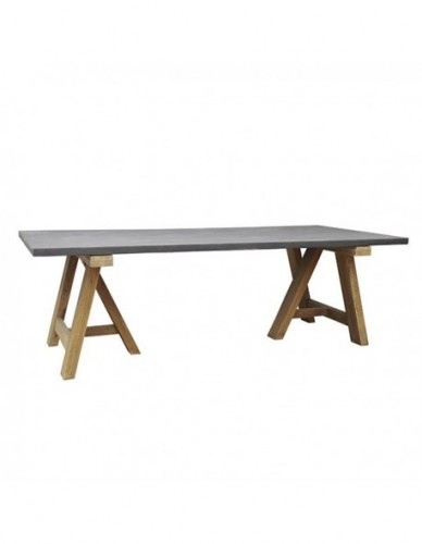 CUBATI 240 DINING TABLE RESIN MIX WITH SAND AT TOP IN CEMENT COLOUR FINISHING. PLANTATION TEAKWOOD LEG IN RECLAIMED AGED