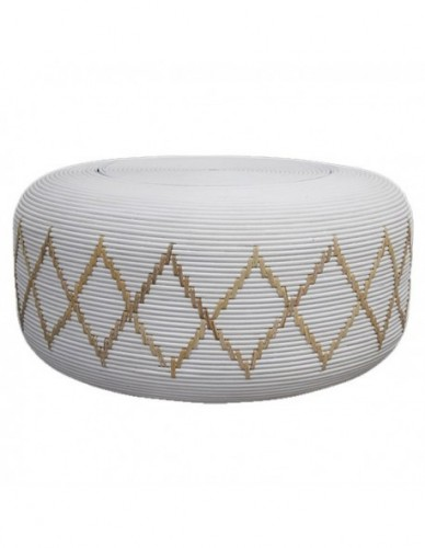 ANICITAN COFFEE TABLE RATTAN FRAME WITH DIA. 10 MM RATTAN CORE DECORE IN SOLID WHITE MATT COLOR FINISHING. 6 MM WIDTH