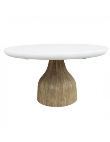 NIYE RESIN WH DINING TABLE 150 (UNW) RESIN TOP IN SOLID WHITE COLOUR FINISHING. TEAK WOOD CHIPS LAMINATED AT LEG IN OLD