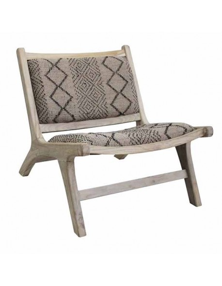 ZUBA OCC CHAIR PLANTATION TEAK WOOD FRAME IN RECLAIMED AGED FINISHING. SEAT AND BACK IN HAND WEAVED TRIBE PATTERN JUTE