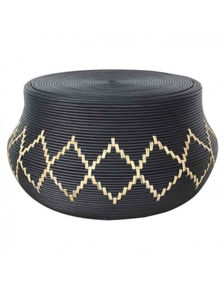 NECK COFFEE TABLE RATTAN FRAME WITH DIA. 10 MM RATTAN CORE DECORE IN SOLID BLACK MATT COLOR FINISHING. 6 MM WIDTH