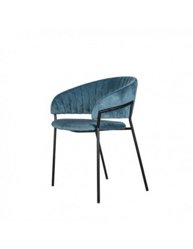 Silla Terciopelo Con brazo de Terciopelo Hierro - Color Azul Negro, Interior