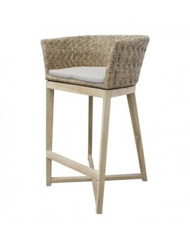 TINDUS GKP COUNTER STOOL (UNW), CUSHION FAB: FAB. DAPHINE CREAM, SEAT SOLID FOAM DENSITY 22, THICK 3 CM W/O PIPING.