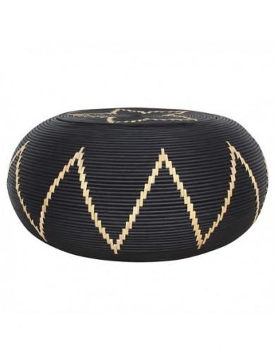 OVACITAN COFFEE TABLE RATTAN FRAME WITH DIA. 10 MM RATTAN CORE DECORE IN SOLID BLACK MATT COLOR FINISHING. 6 MM WIDTH