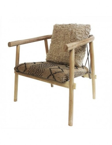HOHALALA ORTP OCC CHAIR, CUSHION FAB: FAB. BELUDRU SOIL COLOR. PILLOW 40 X 40 CM IN FULL DACRON FILLING. PLANTATION TEAK