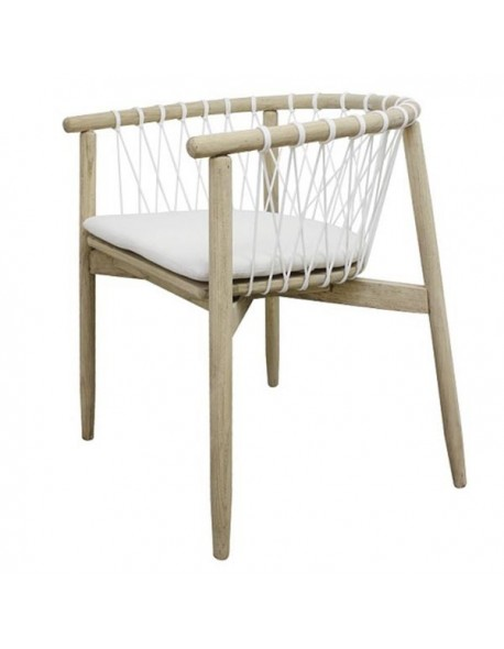COWANTO MINI WHS DINING CHAIR PLANTATION SUNGKAI WOOD FRAME IN RECLAIMED AGE FINISHING. DIA. 5 MM OUTDOOR ROPE WHITE