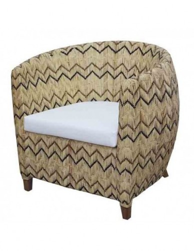TRACY MVW OCC CHAIR. FAB. CARTENZA 130, SEAT SOLID FOAM, DENSITY 22, THICK 8 CM. W/O PIPING RATTAN SKIN ON FRAME WITH 6