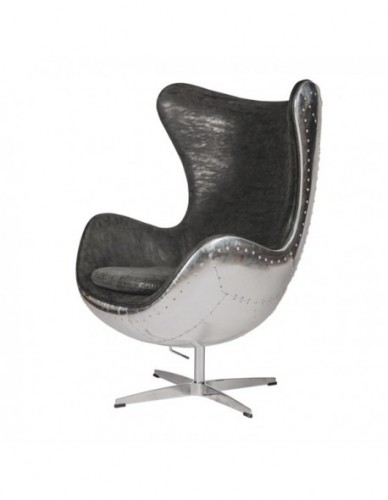 Sillon Aviador Sillon director de Aluminio Piel Estilo Aviador - Color Silver Negro, Interior