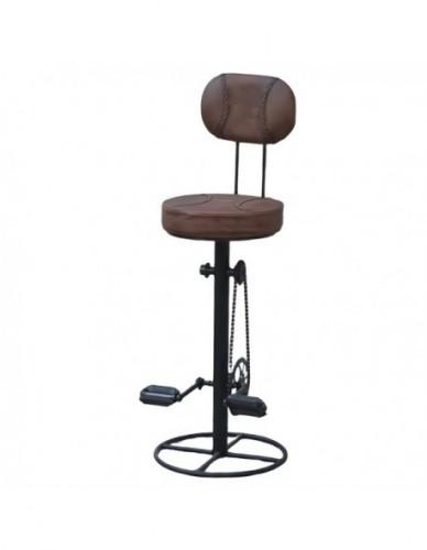 Taburete Alto pedales Con respaldo de Cuero Estilo Industrial, Interior