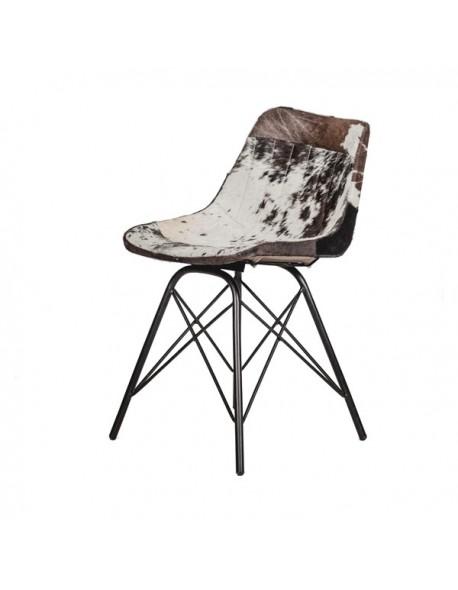 Silla Loft Patas cruzadas de Vaca Estilo Industrial - Color Negro, Interior