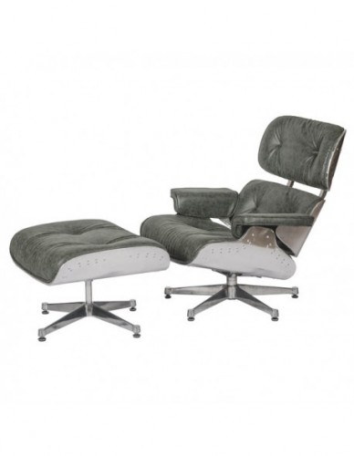 Sillon Aviador Reposapies de Aluminio Piel Estilo Aviador - Color Silver Verde, Interior