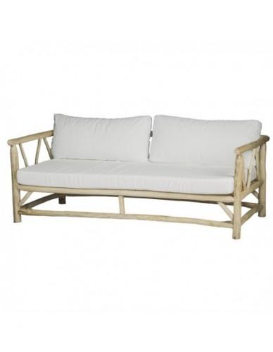 Sofá 3 plazas de Ramas de teca Tela Estilo Natural - Color Natural Blanco, Exterior