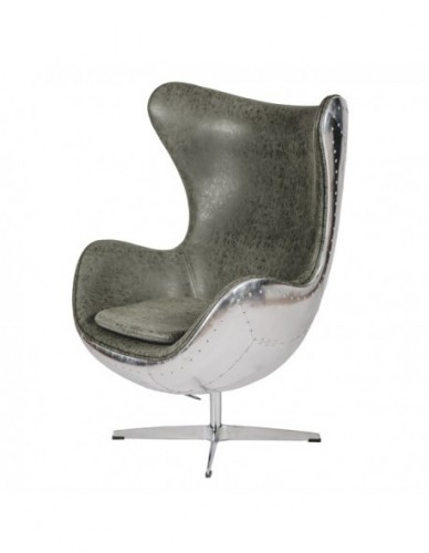 Sillon Aviador Sillon director de Aluminio Piel Estilo Aviador - Color Silver Verde, Interior