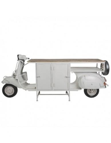 Vehículo Moto Auxiliar de Hierro Madera Estilo Industrial - Color Blanco Natural, Interior