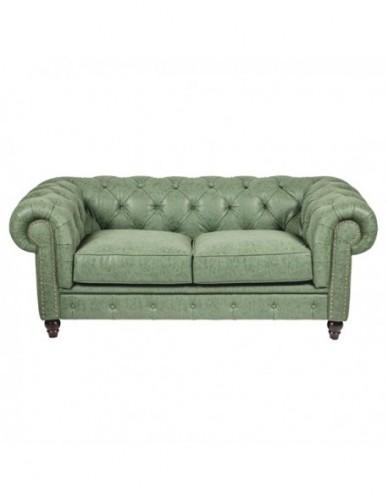 Sofá 2 plazas Chester de Piel sintetica Estilo Clasico - Color Verde, Interior