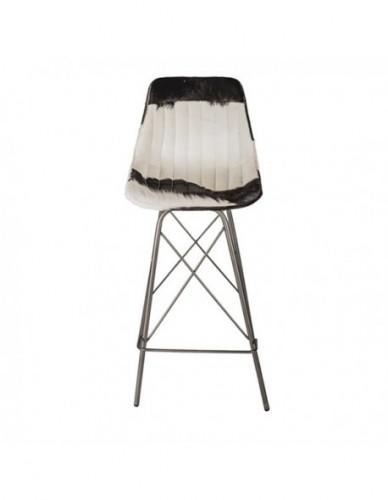 Taburete Loft alto Patas cruzadas de Vaca Hierro Estilo Vintage - Color Negro Silver, Interior