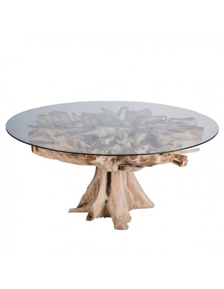 Mesa Comedor Redonda de Raiz Cristal Estilo Natural - Color Natural, Interior