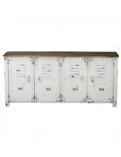 Aparador Con puertas de Hierro Madera Estilo Industrial - Color Blanco, Interior
