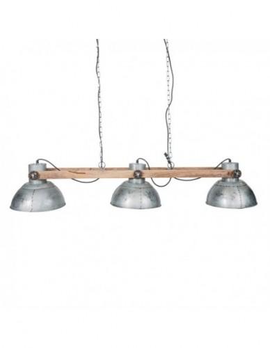 Iluminación Lamparas techo Triple de Hierro Madera Estilo Industrial - Color Silver, Interior
