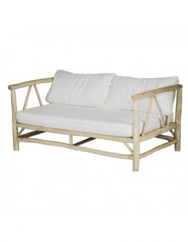 Sofá 2 plazas de Ramas de teca Tela Estilo Natural - Color Natural Blanco, Exterior