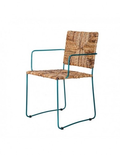 Silla Con brazo Patas rectas de Rattan Hierro Estilo Natural - Color Natural Azul, Exterior