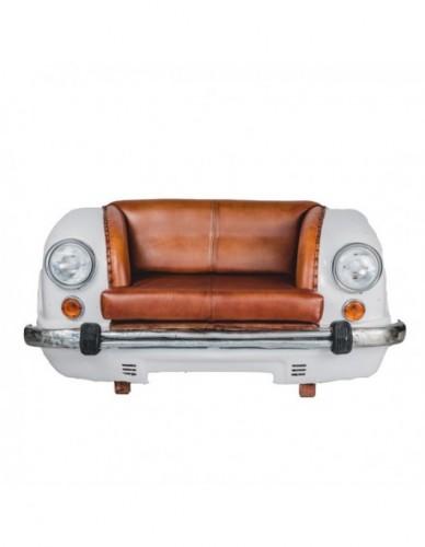 Vehículo Coche Sofa de Hierro Cuero Estilo Vintage, Interior