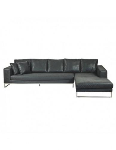 Sofá Chaislongue de Piel sintetica - Color Negro, Interior