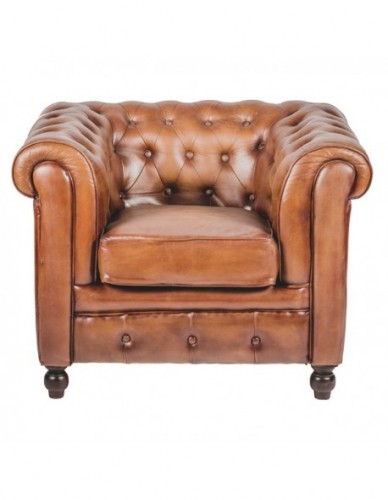 Sillon 1 plaza Chester de Cuero Estilo Clasico - Color Marron, Interior