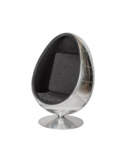 Sillon Aviador Huevo de Aluminio Piel Estilo Aviador - Color Silver, Interior