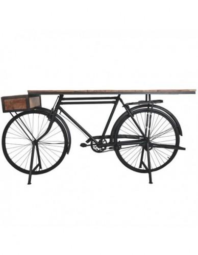 Vehículo Bicicleta Auxiliar de Hierro Madera Estilo Industrial - Color Negro, Interior