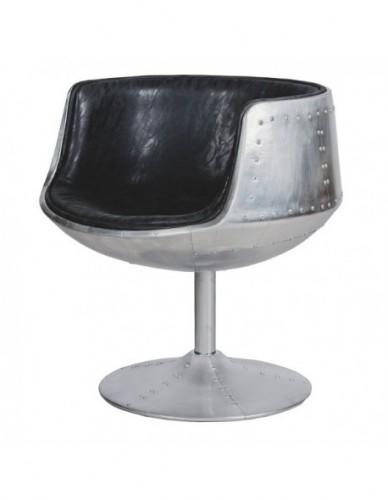 Silla Aviador Con brazo de Aluminio Piel sintetica Estilo Aviador - Color Silver Negro, Interior