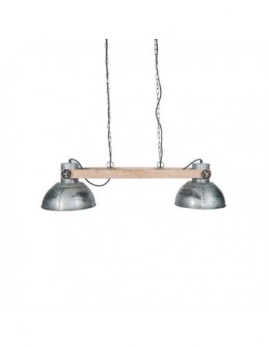 Iluminación Lamparas techo Doble de Hierro Madera Estilo Industrial - Color Silver, Interior