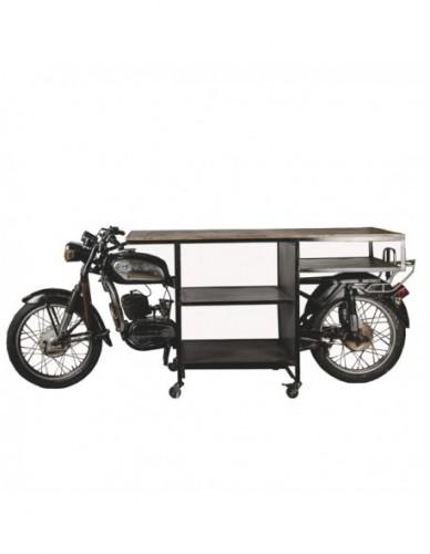 Vehículo Moto Auxiliar de Hierro Madera Estilo Industrial, Interior