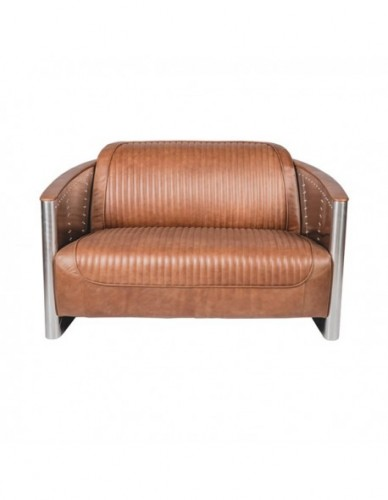 Sofá 3 plazas de Aluminio Piel Estilo Aviador - Color Silver Marron, Interior
