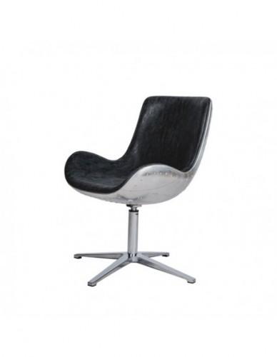 Silla Aviador de Aluminio Piel sintetica Estilo Aviador - Color Silver Negro, Interior