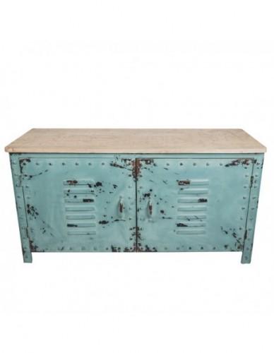 Aparador Con cristal de Hierro Madera Estilo Industrial - Color Azul, Interior