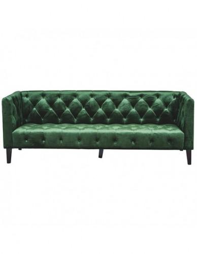 Sofá 3 plazas Otros de Terciopelo Estilo Vintage - Color Verde, Interior