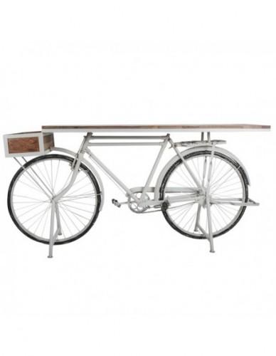Vehículo Bicicleta Auxiliar de Hierro Madera Estilo Industrial - Color Blanco, Interior