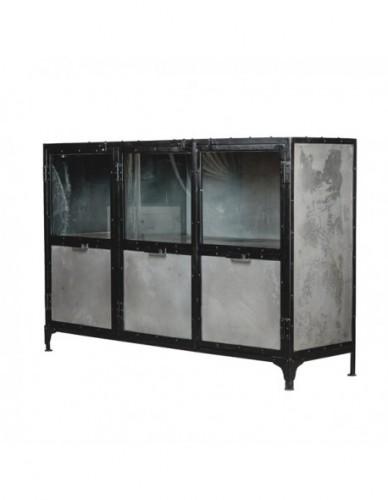 Aparador Con estantes de Hierro Cristal Estilo Industrial