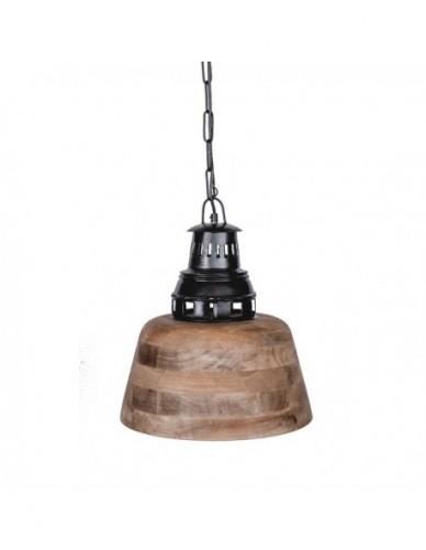 Iluminación Lamparas techo de Madera Hierro Estilo Industrial - Color Negro, Interior