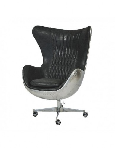 Sillon Aviador Sillon director de Aluminio Cuero Estilo Aviador - Color Silver Negro, Interior