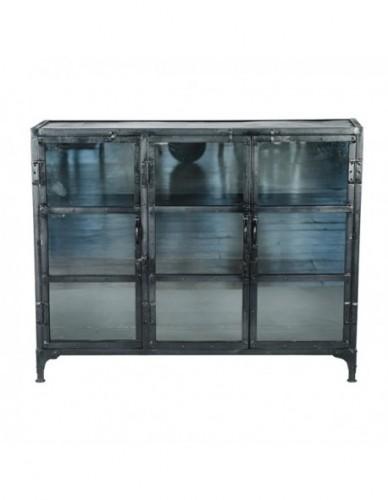 Aparador Vitrina de Hierro Cristal Estilo Industrial - Color Negro, Interior