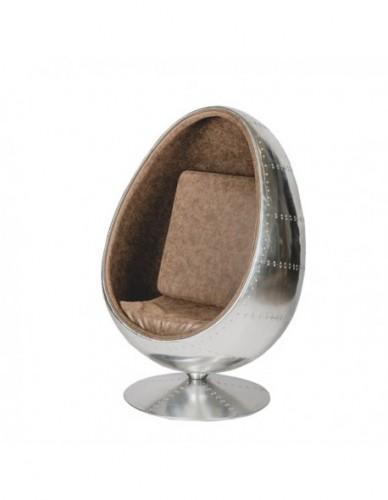 Sillon Aviador Huevo de Aluminio Piel Estilo Aviador, Interior