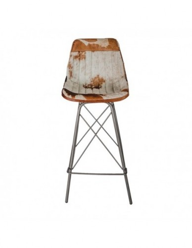 Taburete Loft alto Patas cruzadas de Vaca Hierro Estilo Vintage - Color Marron Silver, Interior