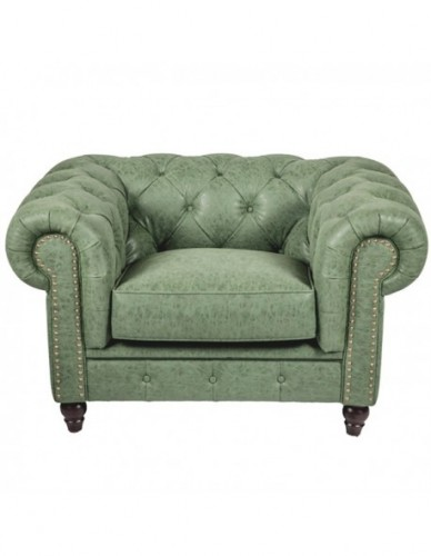 Sillon 1 plaza Chester de Piel Estilo Clasico - Color Verde, Interior