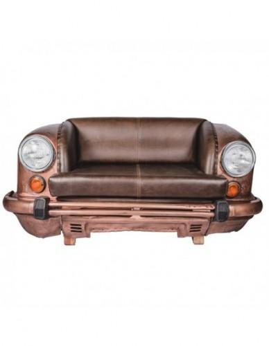 Vehículo Coche Sofa de Hierro Cuero Estilo Vintage - Color Bronce, Interior