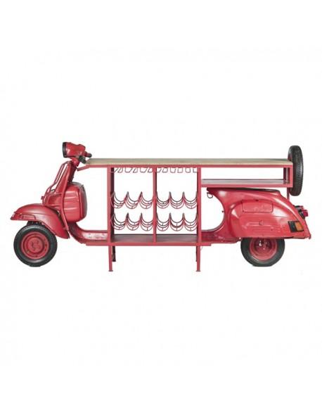 Vehículo Moto Botellero de Hierro Estilo Industrial - Color Rojo, Interior