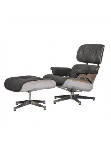 Sillon Aviador Reposapies de Aluminio Piel Estilo Aviador - Color Silver Negro, Interior