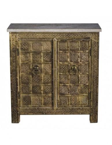 Auxiliar Consola Puertas de Hierro Madera Estilo Exotico - Color Gold, Interior